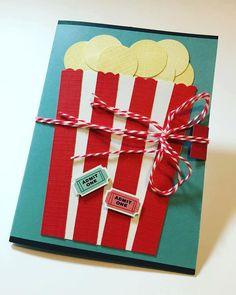 Handmade Popcorn Movie Theatre Ticket Gift Card Holder; Birthday Gift Card Holder; Gift Card Holder by LJsCardsAndCrafts on Etsy