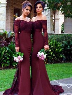 Long Sleeve Bridesmaid dress, Off the shoulder bridesmaid dress, Mermaid bridesmaid dress with Lace, Charming bridesmaid dress.  PD2193