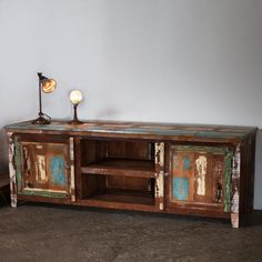 reclaimed wood entertainment center from overstock