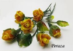 Half a dozen hand made Sculptural Lampwork roses and leaves...  an everlasting bouquet made to order in a variety of colors $165.00