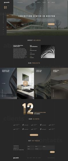 Architecture PSD Template go.arch is a luxury, elegant and trendy PSD template designed in two color styles: black & white. You can be use it for a lot of websites, like architecture buerau, interior design and and other corporate or creative websites. Web Design Trends, Design Websites, Ui Ux Design, Web Design Tips, Interface Design, Design Blog, Modern Web Design, Tech Websites, Web Design Black