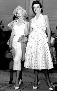 Marilyn Monroe & Jane Russell at Graumens Chinese Theater to have their hand & footprint's in cement. June 26,1953