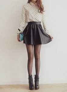 They combined leather and skater skirts. Yup. That's magic.
