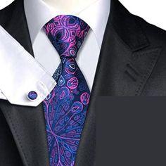 Men's Silk Floral Prints Blue&Purple Neckties Tie+Hanky+Cufflinks Sets  http://www.yourneckties.com/mens-silk-floral-prints-bluepurple-neckties-tiehankycufflinks-sets/