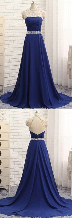 Blue chiffon beading rhinestone round neck open back long A-line prom dress