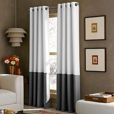 Curtainworks Kendall Color Block Grommet Curtain Panel 84 Inch White Take A Page Right Out Of Your Favorite Fashion Magazine With This Eye Catching