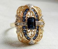 Sapphire Ring Geniune 0.75ct Sapphire and by DiamondSoulShop