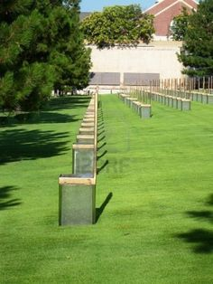 Oklahoma City Bombing Memorial - one office chair for each worker that perished.