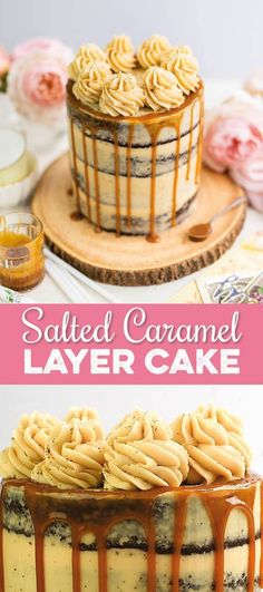 Salted Caramel Cake - Supergolden Bakes - This Salted Caramel Cake is to die for! Homemade caramel sauce, rich chocolate cake and the BEST caramel frosting Cake Filling Recipes, Layer Cake Recipes, Cake Recipes From Scratch, Homemade Cake Recipes, Best Cake Recipes, Best Birthday Cake Recipe From Scratch, Salted Caramel Chocolate Cake, Salted Caramel Frosting, Caramel Filling For Cake