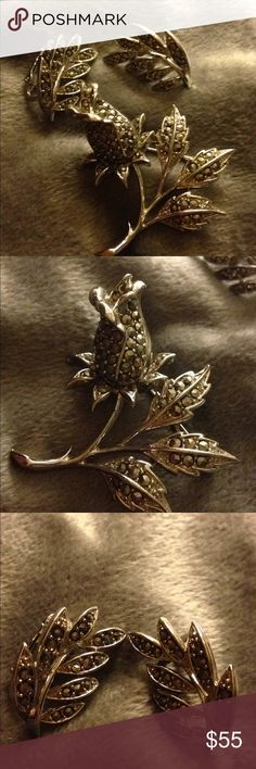 """Vintage Lisner Earrings and Brooch Pretty posies and leaves 🍃! Excellent condition - clip on earrings and matching brooch-earringsabout 3/4"""" and 1 1/2"""" brooch- marked Lisner- offers welcome vintage Jewelry Rings"""