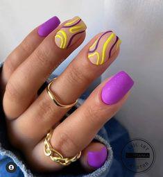 Chic Nails, Stylish Nails, Swag Nails, Color For Nails, Nail Colors, Multicolored Nails, Gel Nail Art Designs, Beauty Nails, Hair Beauty