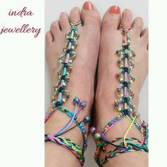 rainbow barefoot sandals footless sandals by indrajewellery Footless Sandals, Beach Accessories, Bare Foot Sandals, Barefoot, Random Things, Footwear, Rainbow, Stuff To Buy, Etsy