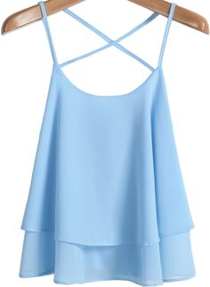 $11.90 Blue Criss Cross Loose Chiffon Vest - Sheinside.com