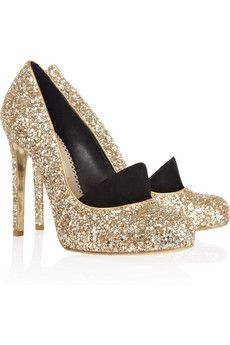 Stella McCartney gold glitter pumps