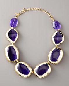 Purple Stone + Gold Statement Necklace
