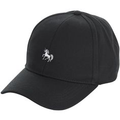 Black Unicorn Embroidered Cap (20 NZD) ❤ liked on Polyvore featuring accessories, hats, embroidery hats, unicorn hat, cap hats, embroidered hats and embroidery caps