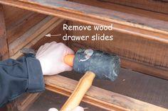 How to Install Drawer Slides on a Vintage Dresser - Shades of Blue Interiors Dresser Drawer Slides, Wood Drawer Slides, Old Dresser Drawers, Diy Drawers, Wooden Drawers, Reupholster Furniture, Furniture Repair, Diy Furniture, Furniture Refinishing