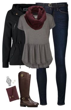 Burgundy & Gray by steffiestaffie on Polyvore featuring polyvore, fashion, style, Vero Moda, Frame Denim, Tory Burch, Henri Bendel, Marc by Marc Jacobs, Yves Saint Laurent and SELECTED