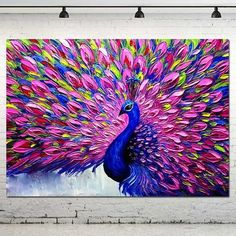 The Best Arts Crafts Sewing Buy Online - - High Skills Artist 100 Hand-painted Palette Knife Impasto Animal Oil Painting On Canvas Abstract P - Abstract Canvas, Oil Painting On Canvas, Canvas Art, Painting Art, Painting Abstract, Artist Canvas, Peacock Painting, Peacock Art, Pink Peacock
