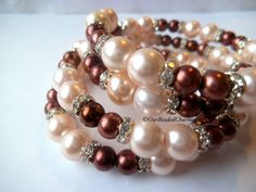 'Coffee and Cream Pearl Wrap Bracelet' is going up for auction at  4pm Fri, Mar 15 with a starting bid of $8.