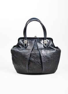 """Black Alexander McQueen Distressed Leather Pleated """"Frame"""" Bag"""