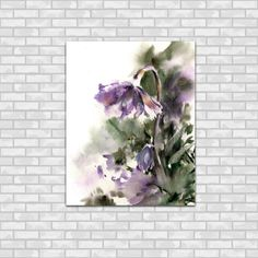 Abstract Flowers Watercolor Painting Art Print, Modern Floral Watercolour Art Purple Green