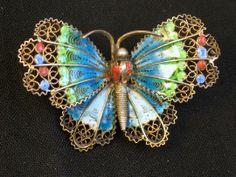 European 800 Silver Plique a Jour Butterfly Pin