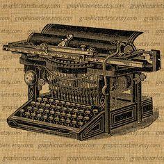 Typewriter Type Writer Vintage Digital Collage Sheet Download Image Burlap Fabric Transfer Iron On Pillows Totes Tea Towels 0621