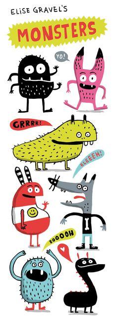 Elise Gravel's monsters Elise Gravel Illustration Mignonne, Children's Book Illustration, Cute Monster Illustration, Elise Gravel, Cute Monsters, Cute Doodles, Monster Art, Cute Characters, Illustrations And Posters