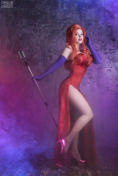 Jessica Rabbit red dress cosplay costume and wig by AllCosplay