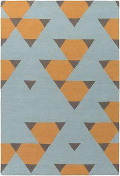 Hilda Brigitte Hand-Crafted Orange/Aqua/Gray Area Rug