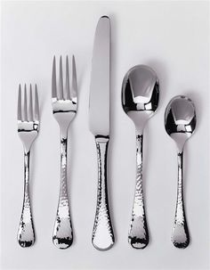 Our stainless hammered flatware set. I love it!