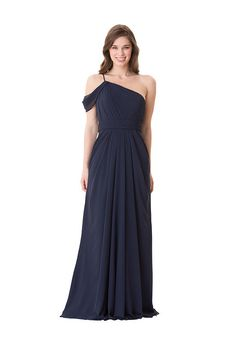 Bari Jay Fall 2016 bridesmaid dress style One shoulder pleated bodice with spaghetti strap and draped shoulder. Color shown: Navy Plus Size Bridesmaids Gowns, Bari Jay Bridesmaid Dresses, Affordable Bridesmaid Dresses, Girls Dresses, Flower Girl Dresses, Prom Dresses, Formal Gowns, Strapless Dress Formal, Wedding Party Dresses