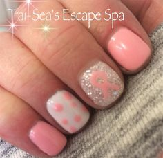 Day 282 Gel With Hand Painted Ribbon Nail Art