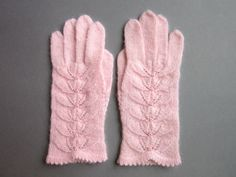 Pink Wool Scarf and Gloves Warmes womens scarf by AnitasHandmade