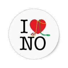 I Love New Orleans mardi gras, sticker, stickers, I heart new orleans, new orleans, beads, zazzle, cupcake topper