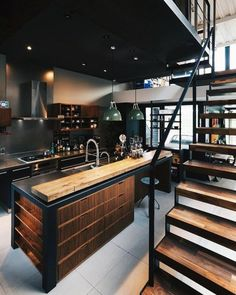 Industrial kitchen with rustic wooden elements and thick industrial metal staircase - modern interior design - ideas - Küche Industrial Kitchen Design, Vintage Industrial Decor, Industrial House, Rustic Kitchen, Kitchen Interior, Industrial Metal, Industrial Office, Industrial Windows, Industrial Interiors