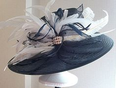 Kentucky Derby Hat, Large brim in Navy and White. $285.00, via Etsy.