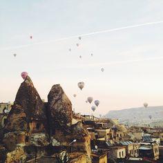 "condenasttraveler:  ""Sunrise outside our room in Cappadocia, Turkey."" Photographed by @sdpnt #cappadocia #turkey"