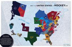 The map of hockey! Bring that Preds border on down South a bit more. Blackhawks Hockey, Hockey Mom, Stars Hockey, Chicago Blackhawks, Carolina Hurricanes, Just A Game, Go Blue, Down South, Coming Home