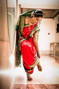 Most Beautiful Nauvari Sarees On Maharashtrian Brides! - Most Beautiful Nauvari Sarees On Maharashtrian Brides! Indian Wedding Couple Photography, Indian Wedding Photos, Indian Wedding Outfits, Saree Photoshoot, Bridal Photoshoot, Maharashtrian Saree, Marathi Saree, Marathi Bride, Marathi Wedding