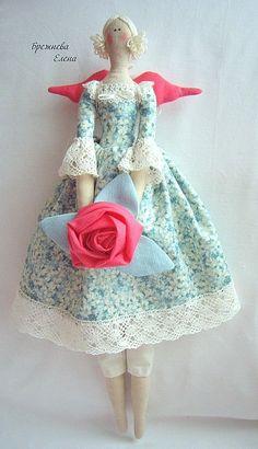 Куклы Тильды ручной работы. Ярмарка Мастеров - ручная работа Тильда Ангел с розой. Handmade.