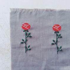 バラをふたつ。 #父の日 #embroidery #刺繍
