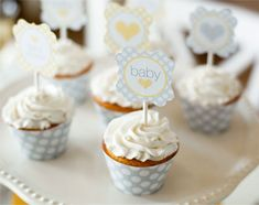 Free downloadable templates for the cupcake toppers & wrappers make creating the sunshine baby shower much easier!