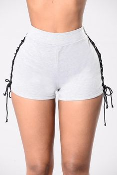 What's Done Is Done Shorts - Heather Grey/Black from Fashion Nova. Saved to Shorts Story. Hot Shorts, Grey Shorts, Denim Shorts, Skirt Leggings, Pants, Lace Jeans, Big Thighs, Perfect Little Black Dress, Tumblr Outfits