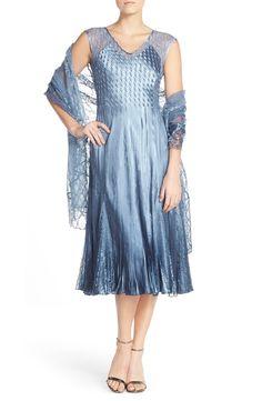 9c2a6e1693 Komarov Lace Accent Charmeuse A-Line Dress   Chiffon Shawl (Regular    Petite)