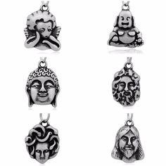 Minimal Buddha & Zeus & Medusa & God Jesus & Cupid & Maitreya Buddha Charm Stainless Steel Pendants For Necklaces & Bracelets