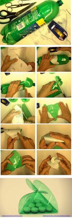 Infographic cómo hacer una caja triangular con una botella de plástico https://www.youtube.com/watch?v=gc04j_bkdnc