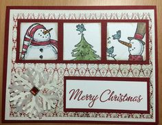 Christmas Card, Stampin Up Snow Much Fun stamp set. Stamped Christmas Cards, Homemade Christmas Cards, Merry Christmas Card, Christmas Cards To Make, Homemade Cards, Christmas 2016, Snow Much Fun, Snowman Cards, Scrapbooking
