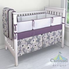 Crib bedding in Solid Aubergine Purple, Gray Chelsea, Purple and Navy Leopard Floral, Lilac Chelsea. Created using the Nursery Designer® by Carousel Designs where you mix and match from hundreds of fabrics to create your own unique baby bedding. #carouseldesigns